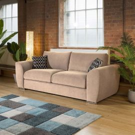 Modern Large 2400mm wide 3 Seater Rose Pink Sofabed with arms