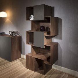 Quatropi Tall Display Cabinet / Shelving / Bookcase Walnut /Scuro Grey