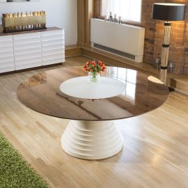 Large Round Lacquered Walnut Cream Gloss Dining Table Glass Insert 1.8