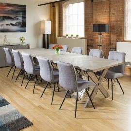 Saturn Solid Oak Grey Dining Table Extends 3.2m +10 Grey Fabric Chairs