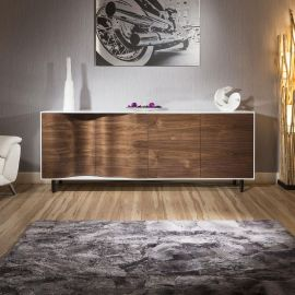 Luxury Large Modern Sideboard / Cabinet High Gloss Walnut/ White River