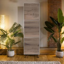 Luxury Slim Tall Cabinet / Sideboard White with Antique Oak 3 Doors