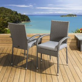 2 x Stackable Garden Armed Dining Chairs Grey Rattan Silver Cushions