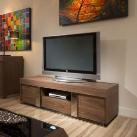 TV Stand / Cabinet / Unit Large 1.6mtr Walnut / Stainless Modern 912F