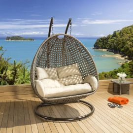 2 Seater Garden Pod Chair Extra Large Rattan Outdoor Egg Brown Beige