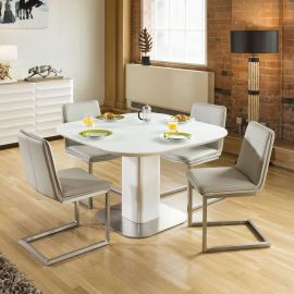 Stunning Dining Set White Glass Square Extending Table +4 Ice Chairs