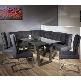 Luxury 8 seater Grey Suede Corner L-Bench chair glass top dining set 6