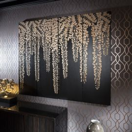 Large Wall Art Artwork Hand Carved Wood Black Oak Wisteria 1.8x1.5mtr
