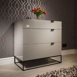 Sleek Chest of Drawers / Cabinet / Dresser 3 Drawers Avorio Grey 1406