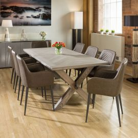 Saturn Solid Oak Grey Dining Table 2200x1000mm + 8 Brown Carver Chairs