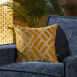 Contemporary Velvet Ayrton Scatter Cushion Pillow 430mm Square Yellow