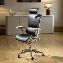 Modern Ergonomic Executive Office Chair Black Bonded Leather Headrest