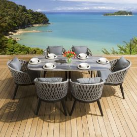Blue Ceramic Marble Look Dining Set Table +6 Curved Chairs Grey Silver