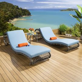 2 x Luxury Garden Outdoor Sunbed / Lounger / Daybed Blue + Cover