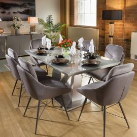 Stunning 6 Seater Dining Set Grey Table With 6 Medium Grey Chairs