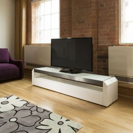 TV / Television Cabinet Unit White Gloss / Stainless with Glass Top