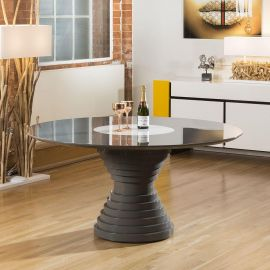 Stunning Luxury Large Round Grey Gloss Dining Table with Glass Centre