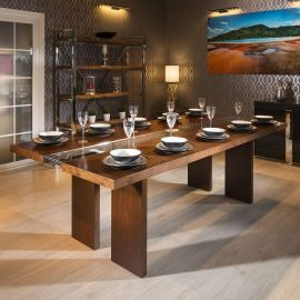 Quatropi Luxury Large 12 Seater 240cm Luxury Dining Table Walnut Glass