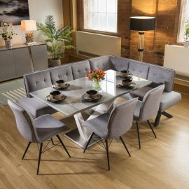 Stunning 6 Seat Grey Dining Set With Grey Fabric Corner Bench & 3 Chairs
