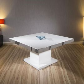 Magnificent Large Square Dining Table in White Gloss with Chrome Trim