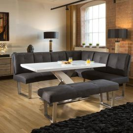 Stylish Corner Dining Set White Glass Top Table +L Shape Bench in Grey
