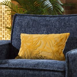Contemporary Velvet Santiago Palm Cushion Pillow 350 x 500mm Yellow