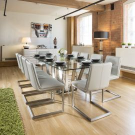 Huge Modern Dining Set Glass Table 10 Ice Grey Cantilever Chairs 2.4mt