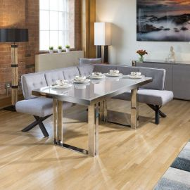Quatropi Sophie Modern Grey Glass Dining Table + 6 Seat Corner Bench