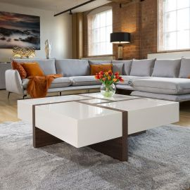 Huge Modern Square 1000mm Coffee Table White High Gloss & Walnut Legs