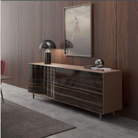 Luxury Large Modern Sideboard Cabinet High Gloss Ebony / Coffee River