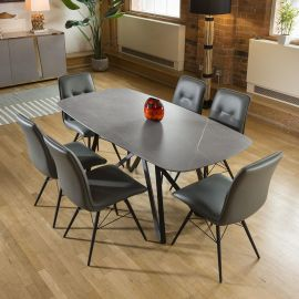 Ceramic Grey Table Dining Set 2 x 1m + 6 PU Leather Chairs 9137