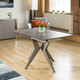 Modern Grey Italian Ceramic Dining Table Rectangle Extends 1.3 - 1.7m
