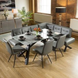 Grey Glass Dining Table Set + PU Corner Bench & 3 Chairs