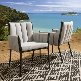 High End Garden Outdoor Dining Chairs Black Legs Stone Grey Fabric