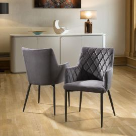 Set of 2 Quatropi Luxury Carver Chairs Medium Grey Fabric Quilted