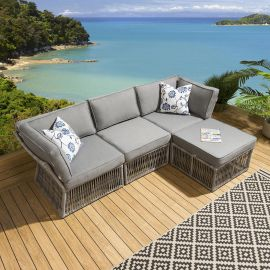 Luxury Cole Garden Patio 3 Seater Sofa With Chaise Grey Cushions L1