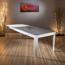 Modern Luxury Extending Glass top Dining Table White Oak 1800-2800mm