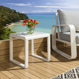 White Aluminium Outdoor Indoor End Side Lamp Table Square Modern