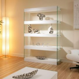 Display Cabinet / Shelving Unit / Shelves White Gloss Glass Modern New