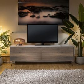 Luxury TV Cabinet White with Antique Oak Doors 4 Door 2.0 Meters
