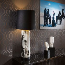 Large Table Lamp White Ceramic Stem Painted Horse Head Equestrian Blk