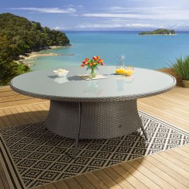 Giant Luxury Garden / Outdoor Round Dining Table Grey Rattan 2.0 mtr