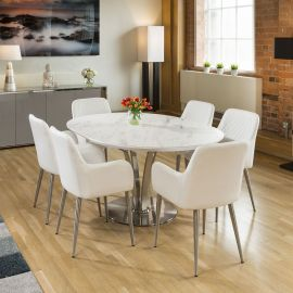 Round White Italian Ceramic Dining Table Extends +6 White carver Chair