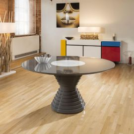 Stunning Luxury Large Round Grey Gloss Dining Table Glass Insert 1.8mt