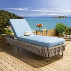 Luxury Garden Lounger Sunbed Daybed Grey Rope Blue Cover