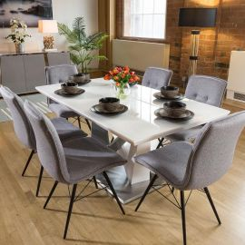 Stunning 6 Seater White Dining Set With 6 x Grey Fabric Chairs