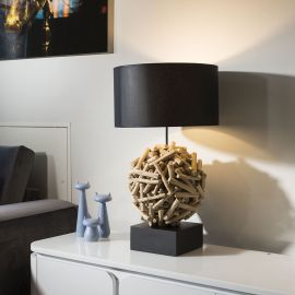 Beautiful Unique Modern Driftwood table lamp light Black shade Siam