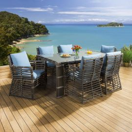 Luxury Outdoor Garden Dining Set 6 chairs , Large Table Bamboo Style Blue