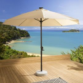 Luxury Garden Cream Round Parasol Umbrella 3m With Solar Light