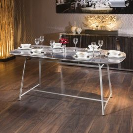 Ceramic Rectangular 8 Seat Dining Table Indoor or Outdoor Blue Marble